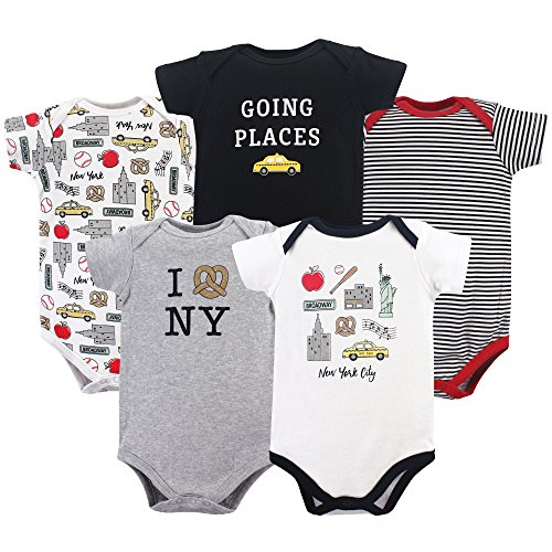 0013b481e Hudson Baby Cotton Bodysuits, New York City 5 Pack, 9-12 Months