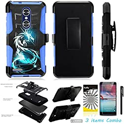 For ZTE Grand X4 Z956 /3Items [Clear LCD Film]+Stylus Pen+[Impact Resistance] Dual Layer [Belt Clip] Holster Combo [KickStand] Phone Case Blue Dragon - Blue