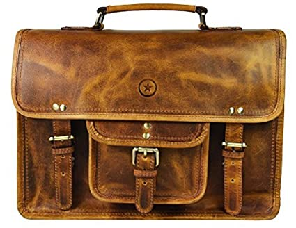 Image Unavailable. Image not available for. Color  15 inch Vintage Leather  Messenger Satchel Bag  2da37a9b502d4