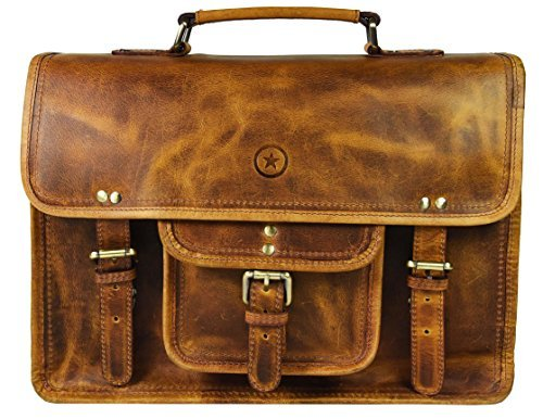 15″ Vintage Handmade Leather Messenger Satchel Bag | Briefcase Bag By Aaron Leather