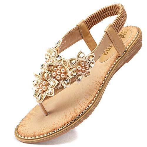 Odema Women's Bohemian Flat Sandals Elastic Slip On Flower Rhinestone Flip Flop Shoes Apricot