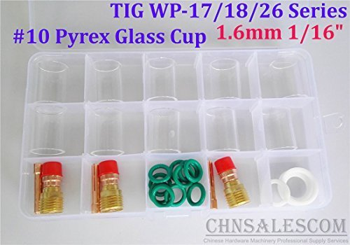 CHNsalescom 28 pcs TIG Welding Stubby Gas Lens #10 Pyrex Cup Kit WP-17/18/26 Torch 1/16