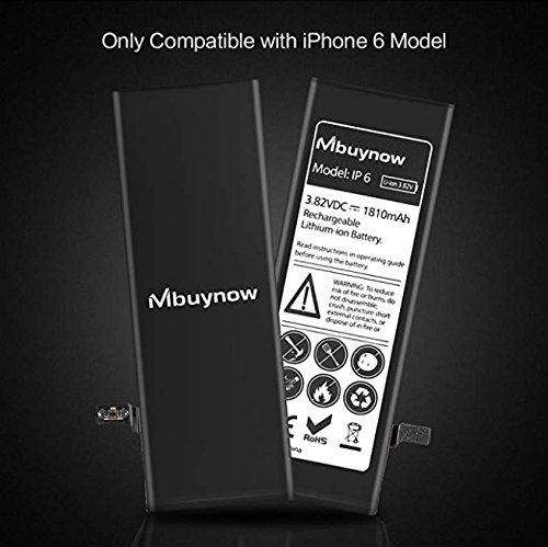 Mbuynow Batería del iPhone 6,Kit de Reparación Completo con Herramientas e Instrucciones de Alta apacidad (1810mAh) Nuevo 0 Ciclo