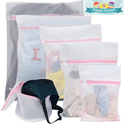 Polecasa 6-Pack Delicate Mesh Laundry Bag with Rust Proof Flow Zipper ,Laundry Wash Bag,Blouse, Hosiery,Stocking,Underwear, Toys and Bra Drying Wash Bag,Travel Organize Bag (1 bra bag+5 laundry bag) - Flow Bag