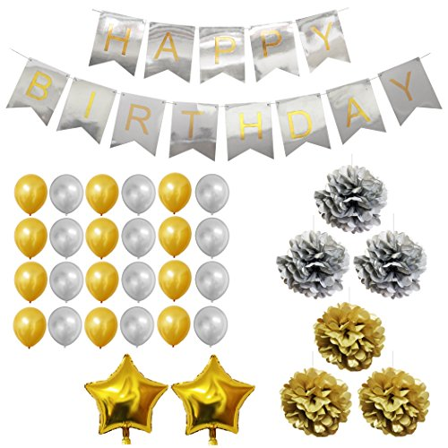 33 Piece Gold and Silver Party Supplies Decoration Set by Belle Vous - Pom Poms, Latex and Foil Balloons and Banners for Birthday Celebrations & Parties - Bulk Decorations Kit (Bulk Party Supplies)