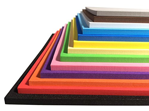 Extra Thick! - Craft Foam Sheets - EVA Material - 13 Colors 9.6×9.6 inches - 3mm/5mm/7mm - Glue Foamies Craft
