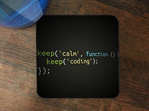 Keep Calm Keep Coding Silicone Drink Beverage Coaster 4 - Programming Coasters