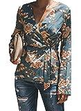 BLENCOT Women's Winter Long Sleeve Chiffon Blouses Shirts Floral Wrap Front Tie Knot V Neck Soft Work Light Blue Tops 2XL