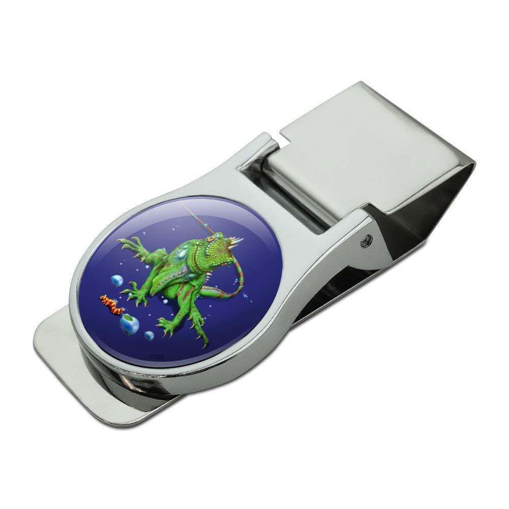 Rainforest Iguana and Caterpillar Satin Chrome Plated Metal Money Clip