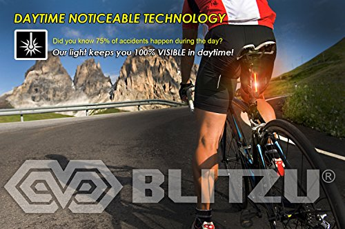 BLITZU Cyborg 120T USB Rechargeable LED Bike Tail Light. Bright Bicycle Rear Cycling Safety Flashlight, Fits Road, Mountain Bikes, Helmets. Get The Front Headlight and Back Set for Kids Men and Women by BLITZU (Image #1)