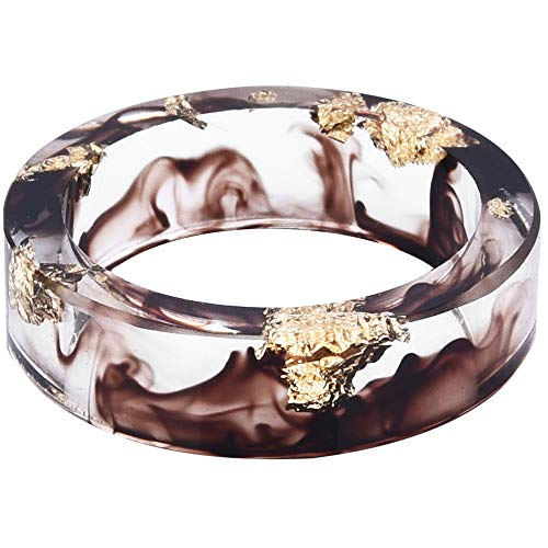 (Jude Jewelers 8mm Ocean Style Transparent Plastic Resin Wedding Band Cocktail Party Ring (Brown, 7))