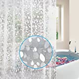 Feagar EVA Shower Curtain Liner with Free Hooks, Mold&Mildew Resistant Waterproof Anti-Bacterial 72x72-Inch-PVC Free, Non Toxic, Eco-Friendly, Odorless 3D PebbleBathroom Curtains, Semi-Transparent