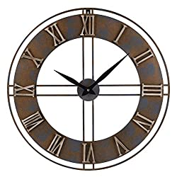 23.6-Inch Oversized Rustic Metal Silent Non-Ticking Battery Operated Decorative Wall Clock with Large Roman Numerals