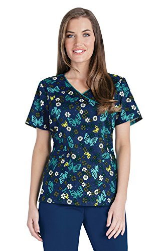 Le Top Halloween (Cherokee Halloween Owl Be Trick Or Treating (OWTT) Mock Wrap Print Scrub Top, Black, XL)