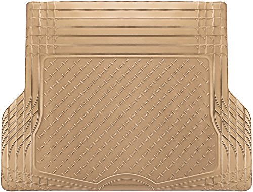 Beige Rear Mat - OxGord WeatherShield HD Rubber Trunk Cargo Liner Floor Mat, Trim-to-Fit for Car, SUV, Van, Trucks Beige