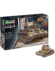 Revell RV03267 12 modelbouwset 03267 Flakpanzer IV wervelwind (2 cm Flak 38), militaire bouwpakket in schaal 1:72, niveau 4, getrouwe replica met veel details, multicolour