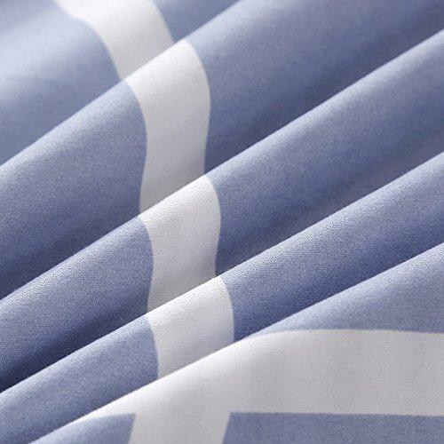 Bedding Children Duvet Cover Set Flat Bed Sheet Pillowcase No Comforter 4pcs SJD Twin Full Queen Full Love Lasting Stripe lattices Designs for Kids Children (Lasting Stripe,Blue, Twin,59''x78'') by Nova (Image #5)