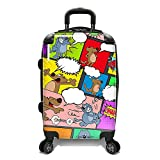 Color Animal Comics Theme Luggage Hardtop Hardside Roller Set, Comic Speech Bubble Themed Carry Suitcase Hard Top Side Rolling Upright Spinner Wheels, Blue Red Black Green Pink Yellow Purple
