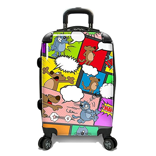 Color Animal Comics Theme Luggage Hardtop Hardside Roller Set, Comic Speech Bubble Themed Carry Suitcase Hard Top Side Rolling Upright Spinner Wheels, Blue Red Black Green Pink Yellow Purple by DSOS