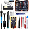 Soldering Iron Kit With On Off Switch Rarlight 60w 110v Adjustable Temperature Welding Tool With Digital Multimeter Soldering Tips Desoldering Pump Solder Wire Tweezers Stand Wire Stripper Cutter