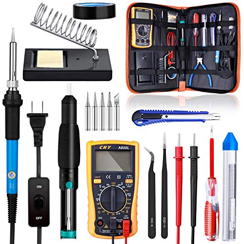 Soldering Iron Kit with ON/OFF Switch, Rarlight 60W 110V Adjustable Temperature Welding Tool with Digital Multimeter,Soldering Tips,Desoldering Pump,Solder Wire,Tweezers,Stand,Wire Stripper Cutter - Off Switch Kit