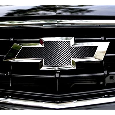 2 pcs Carbon Fiber Chevy Bowtie Emblem Overlay Sheets Front/Back Vinyl Decal Wrap (Black): Arts, Crafts & Sewing