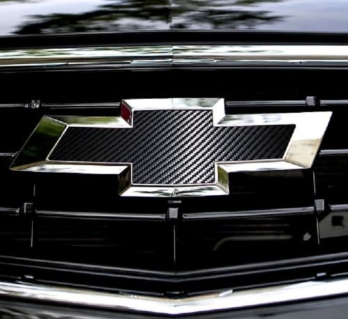 - XYC 2 pcs CARBON FIBER Chevy Bowtie Emblem Overlay Sheets Front/Back Vinyl Decal Wrap (black)