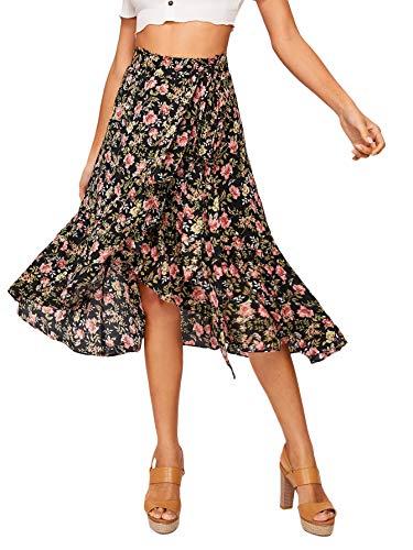 SheIn Women's Boho Floral Print Tie Up High Waist Ruffle Trim Warp A-Line Midi Skirt Medium Multicolor