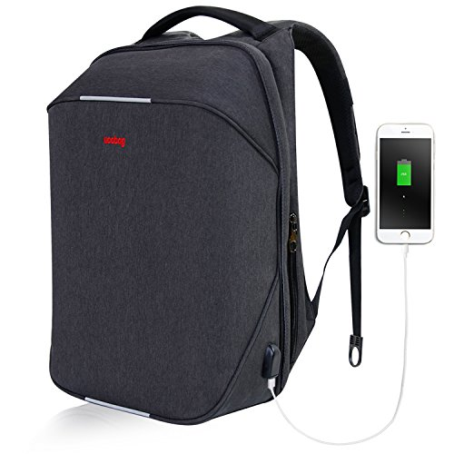 Uoobag TSA Friendly Scansmart Travel Laptop Backpack with USB Charging Port Large Capacity Fit 15.6 Inch Notebooks (Security Friendly Backpack)