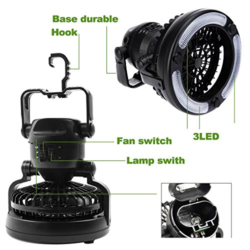 Portable LED Camping Lantern with Ceiling Fan for Camping Hiking and Emergency