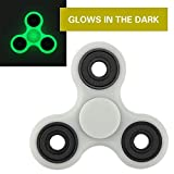 KOMIWOO Glow In the Dark Tri-Spinner Fidget Toy, [3D Figit] ULTRA FAST Ceramic Bearing EDC Focus Toy for Kids & Adults - Best Stress Reducer Relieves ADHD, Anxiety, Boredom(White)