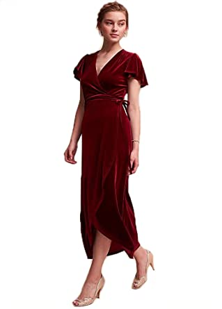 Chenghouse Velvet Prom Dresses V-Neck Cap Sleeves Prom Party GownsBurgundy-US2