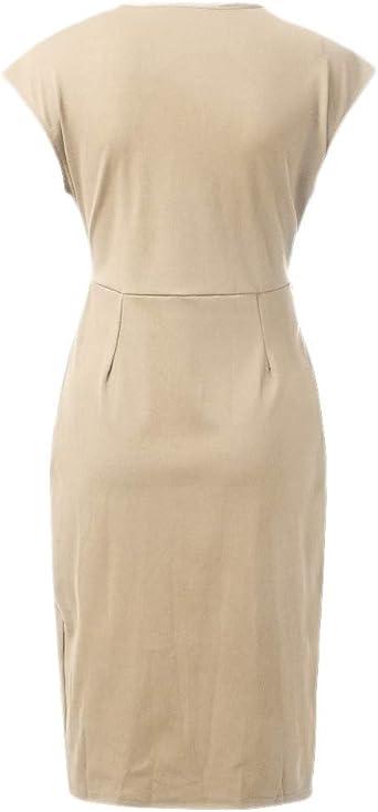 Sanfashion sukienka na imprezę damska z krÓtkim rękawem dekolt w kształcie V sukienka na co dzień, jednokolorowa, do kolan, sukienka wieczorowa z paskiem: Odzież