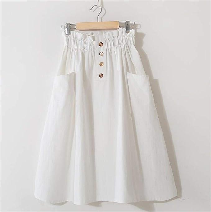 Haucalarm Falda midi con botón, para mujer, informal, cintura alta ...