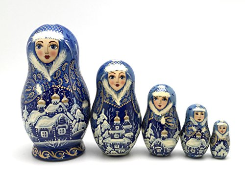 Unique Russian Nesting dolls Fairy Tale Hand Carved Hand Painted 5 piece set 5 piece set