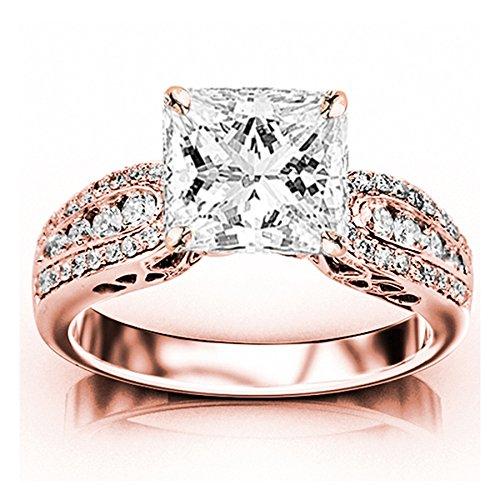 1.5 Ct Tw Princess Diamonds (1.5 Carat t.w. GIA Certified Princess Cut 14K Rose Gold Designer Channel Set Round Diamond Engagement Ring (G-H Color VVS1-VVS2 Clarity Center Stones))