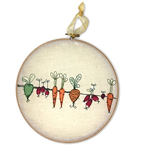 (Carrots and Beets Garden Embroidered Wall Art - Framed Hoopwork)