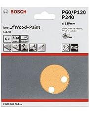 Bosch Professional 6 st. slipbladsset för excentterslipmaskiner trä och färg (Ø 125 mm, kornstorlek 60/120/240, C470)