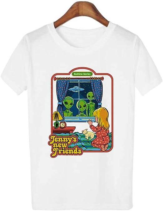 ZHOUBIANREN Camiseta Mujer,Moda De Verano Ropa Casual Camiseta Tshirt Vintage 90S 80S Tops Mujer Camiseta De Manga ...