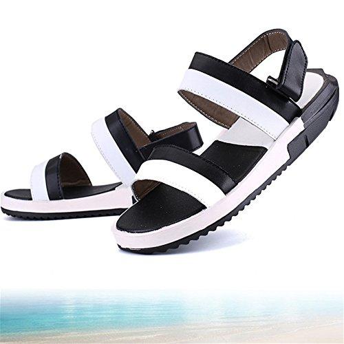 2 EU Spiaggia Sandali Nero Uomo 40 Traspiranti Pelle Casual pantofole Nero In Da Scarpe Colore Sandali da Dimensione All'aperto spiaggia Scarpe Antiscivolo Da Wagsiyi 3 qFx1wngP