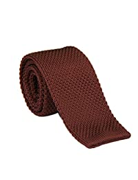 "Ainow Smart Casual Men's 2"" Skinny Knit Tie Necktie - Various Colors (Coffee Brown)"