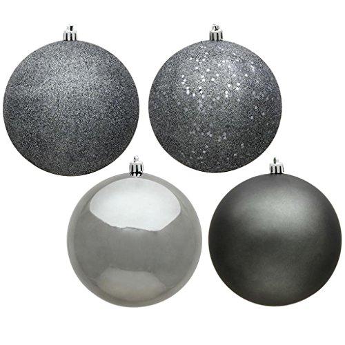 Vickerman 489154 - 12'' Pewter 4 Assorted Finish Ball Christmas Tree Ornament (Set of 4) (N593087DA) by Vickerman