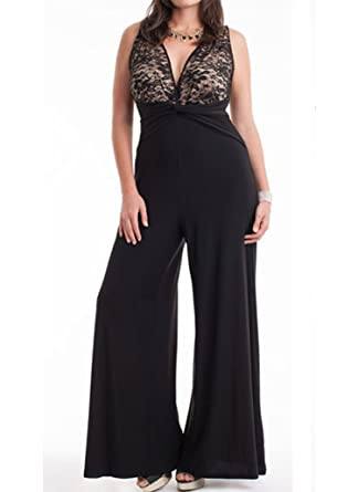 6c6cf5c5f47a 831 - Plus Size V Neck Lace Top Palazzo Wide Pants Jumpsuit Black (1X)
