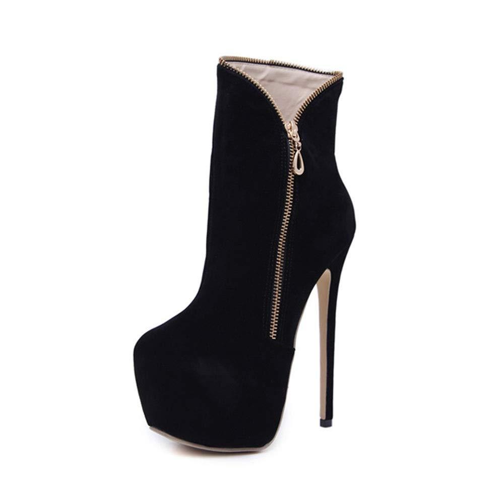 GSAYDNEE 16 cm Plateau-Stiletto-Stiefeletten für Damen (Farbe   schwarz Größe   38)