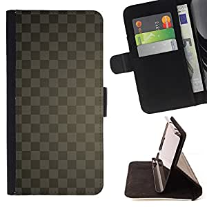 DEVIL CASE - FOR Samsung Galaxy Note 4 IV - Texture Checkered Gray - Style PU Leather Case Wallet Flip Stand Flap Closure Cover