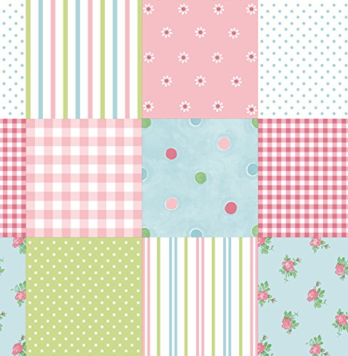 Brewster 2679-002135 Patchwork Patchwork Wallpaper, Pink