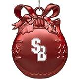 Stony Brook University - Pewter Christmas Tree Ornament - Red
