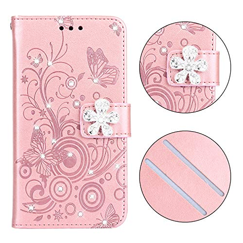 Maoerdo Galaxy A6 Case,Embossed Butterfly Flowers Wallet [Bracket Chuck] 3D Handmade Bling Crystal Diamond PU Leather Shockproof Protective Cover for Samsung Galaxy A6 2018 - Light Pink