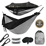 Hitorhike Camping Hammock with Mosquito Net Included Detachable Aluminum Support Poles Tree Straps and Steel Carabiners for Backpacking, Camping, Travel, Beach, Backyard Hammock (Black with Gray)