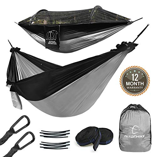 Hitorhike Camping Hammock with Net Included Detachable Aluminum Support Poles Tree Straps and Steel Carabiners for Backpacking, Camping, Travel, Beach, Backyard Hammock (Black with Gray)